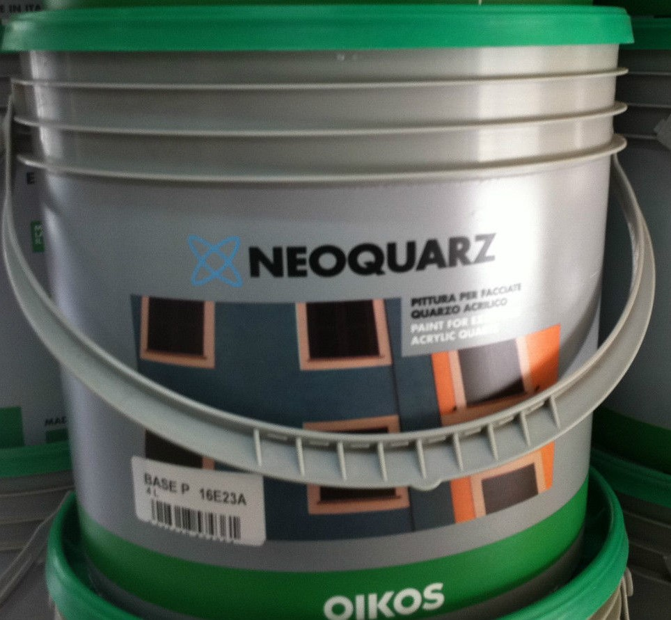 Neoquarz pittura acrilica oikos 4 lt costruire for Pittura brillantinata oikos